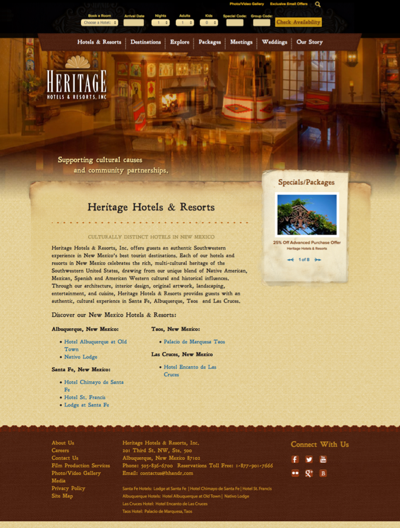 hotel website design, vail website design, vail marketing firms, heritage hotels